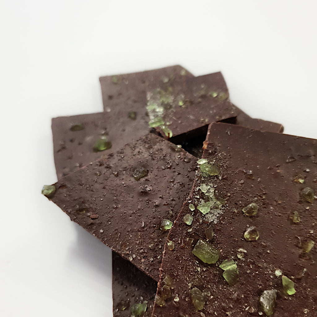 Dark chocolate shards made with peppermint toffee crystals using Callebaut Belgain 54% dark chocolate. Handmade in Milton at Woodstock Chocolate Co.