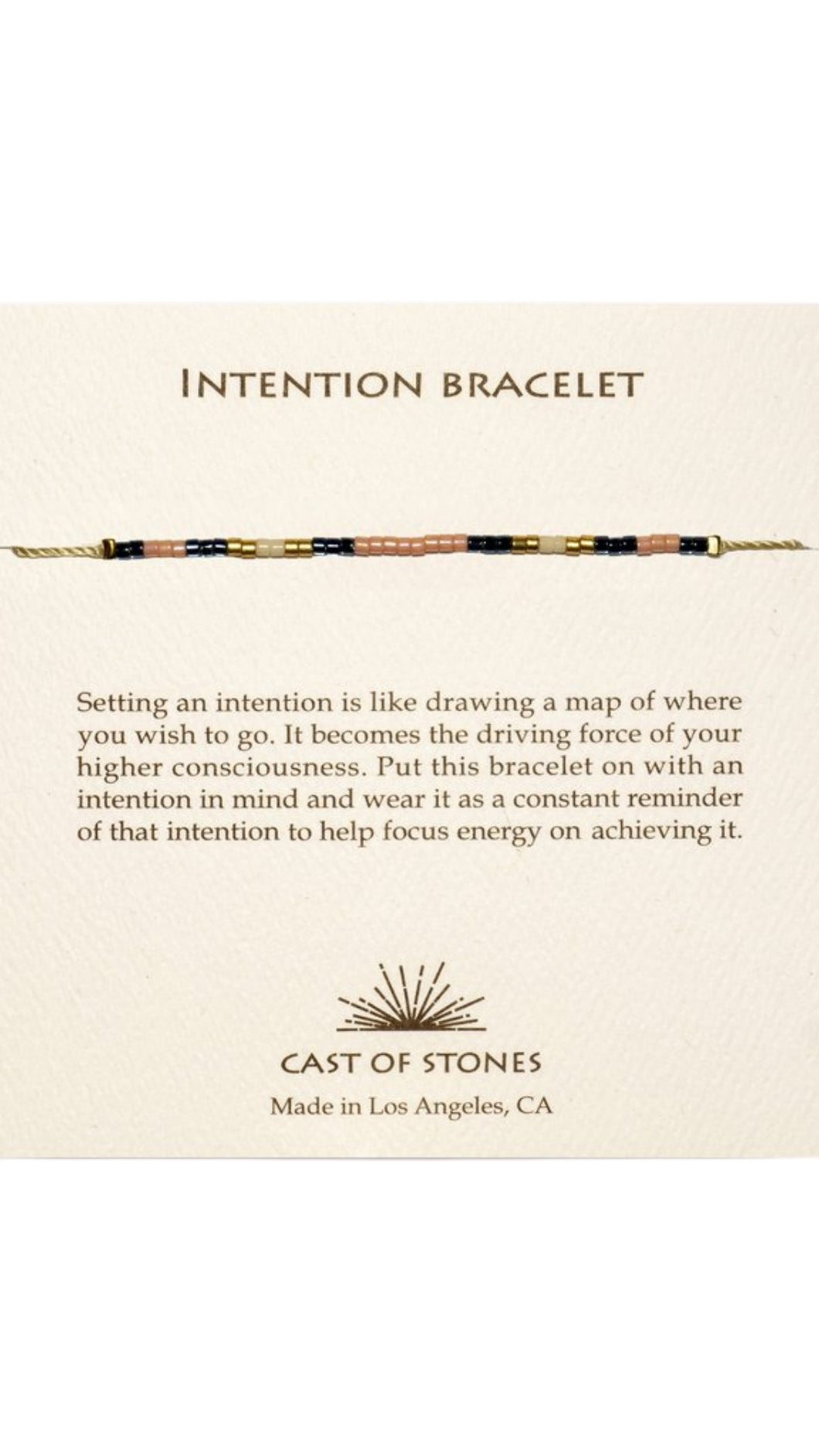 Peach and Blue Intention Bracelet
