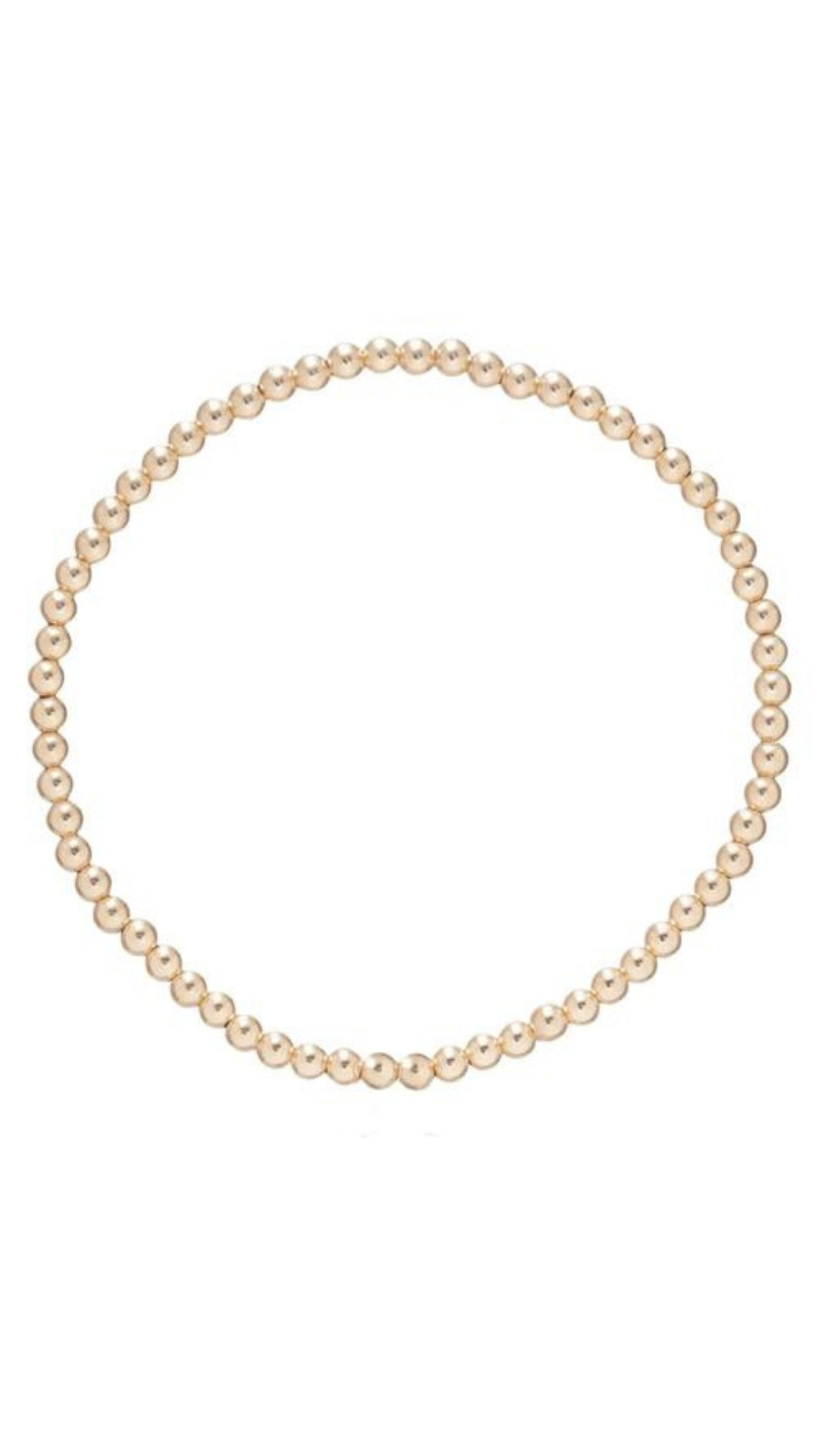 Classic 3mm Bead 14k Gold Bracelet