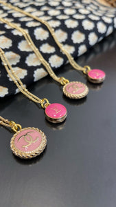 Dainty Pink Rope CC Necklace