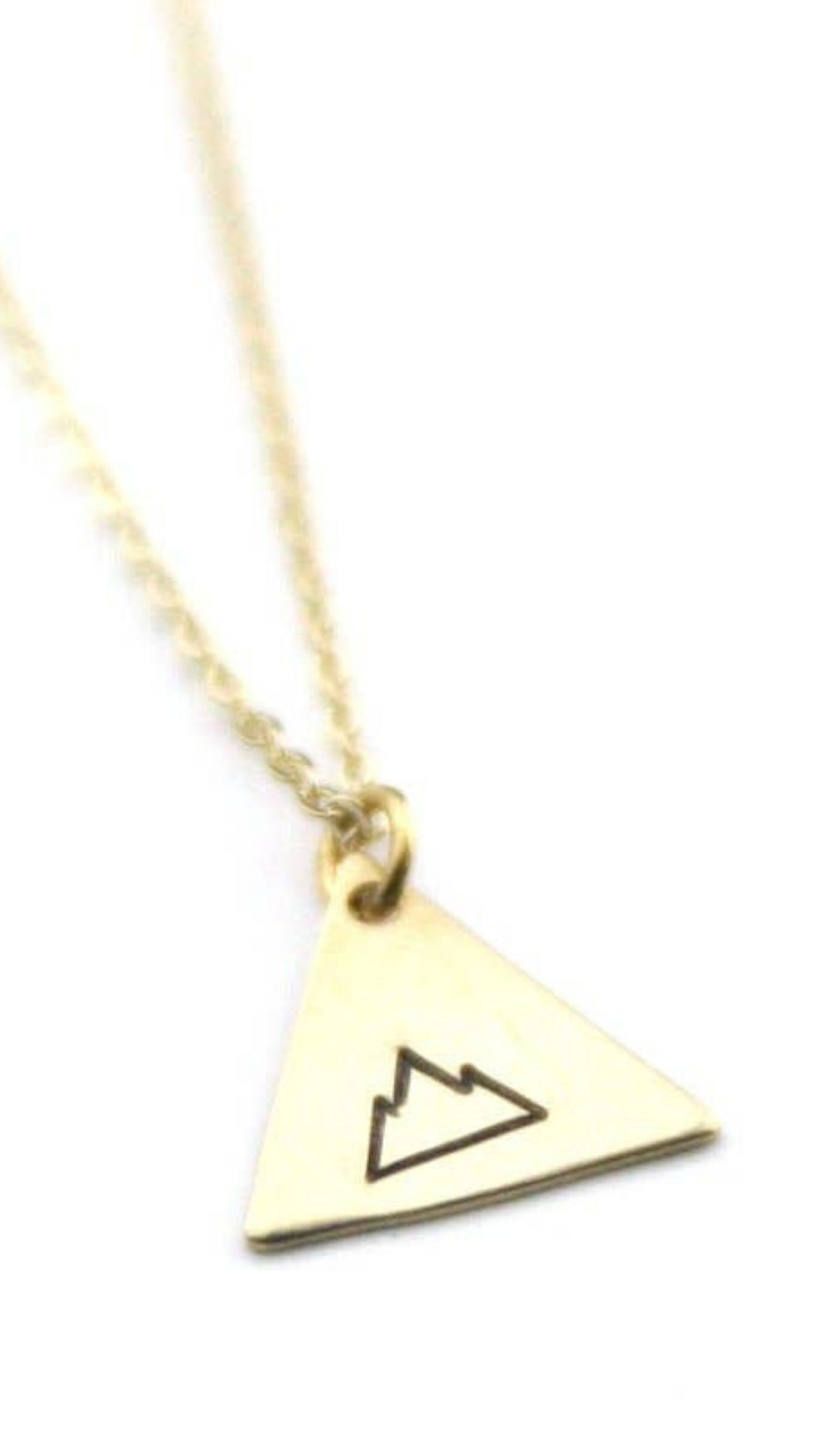 Geometric Mountain - Brass Stamped Necklace