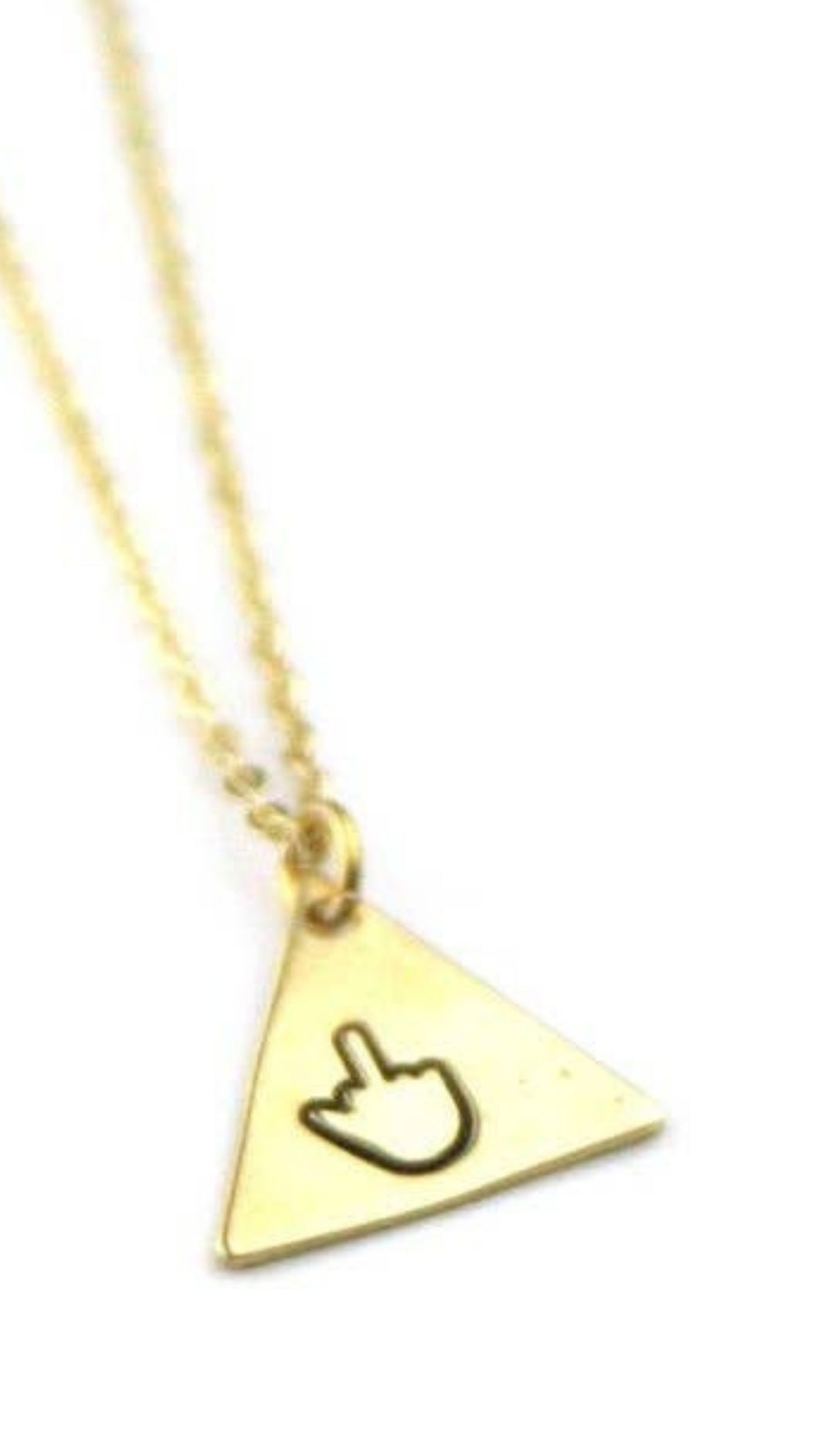 Middle Finger - Brass Triangle Necklace