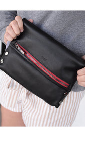 VIP Medium Black Gunmental Red Zip Handbag