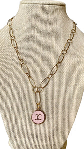 Wire Light Pink CC Necklace