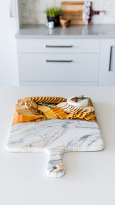 "White, Grey, and Gold Cheeseboard 15"" x 24"""