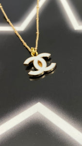 White Chanel Logo Necklace