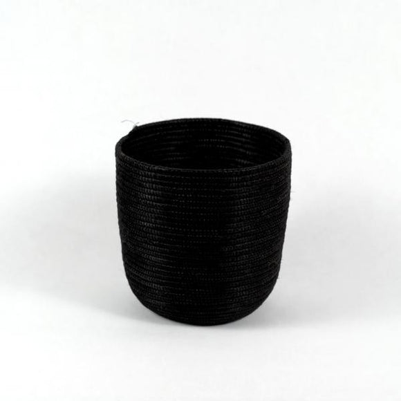 Thin Woven Grass Vase, Black