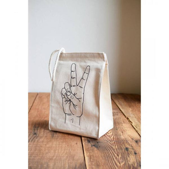 Peace Lunch Bag, Grey Ink