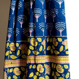 Peacock Block-Printed Cotton Throw