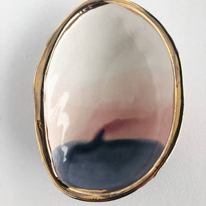 Ceramic Abalone Dish w/ 22K Gold, Choose Color