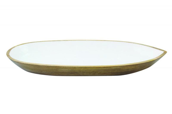 Mango Wood & White Enamal Large Oval Dish