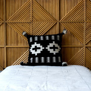 Cross & Arrows w/ Poms Toss Pillow, Black & Cream, 17""