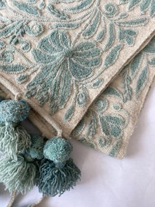 Peruvian Floral Table Runner, Aqua