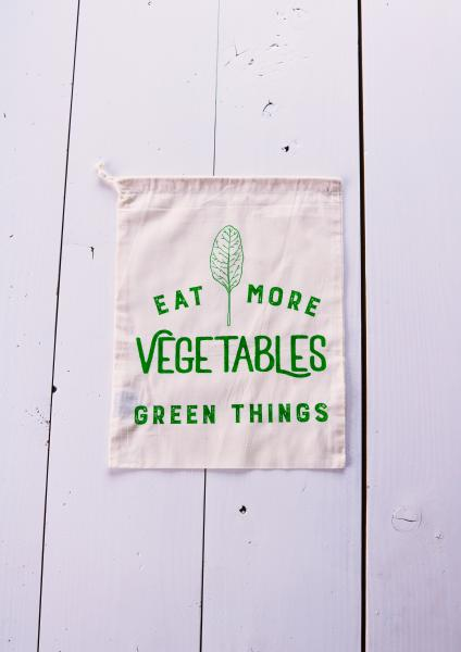 Eat More Vegetables Produce Bag, Green Ink