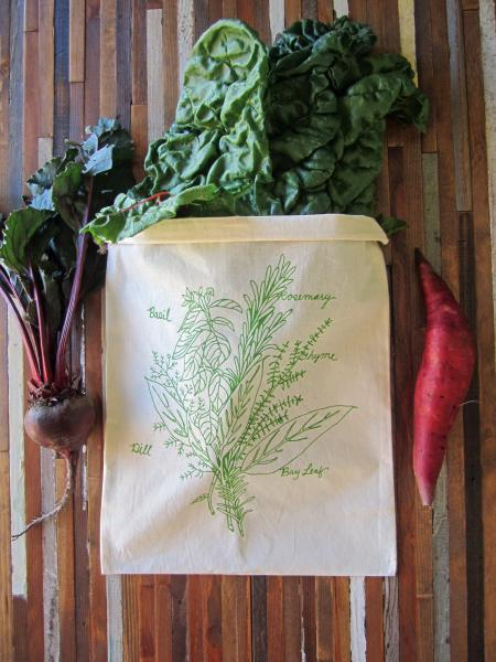 Herb Bunch Produce Bag, Green Ink