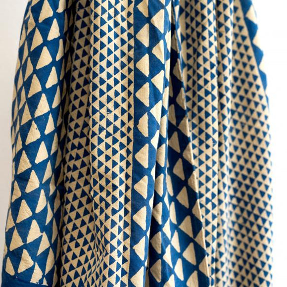 Triangle Block-Printed Cotton Throw