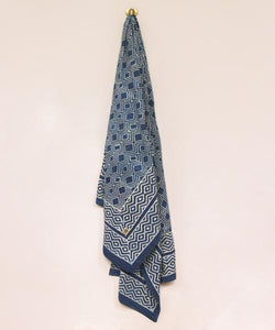 Indigo Ikat Block-printed Throw, Cotton