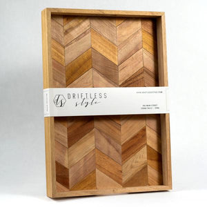 Large Wood Tray, Herringbone