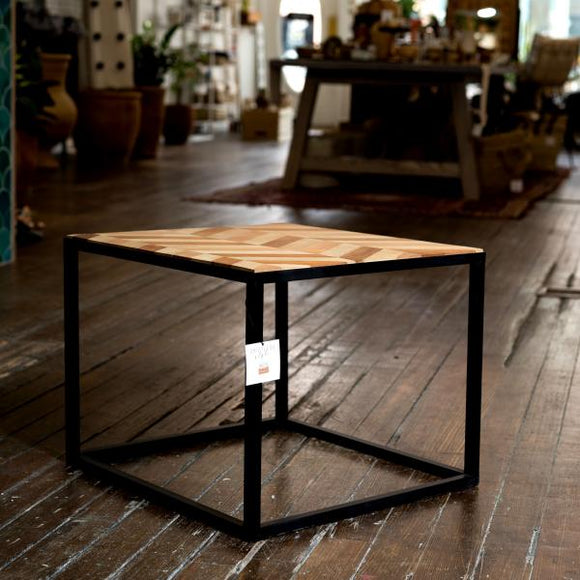 Black Iron & Wood Side Table