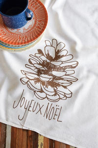 Joyeux Noel Tea Towel: Golden Bronze Ink