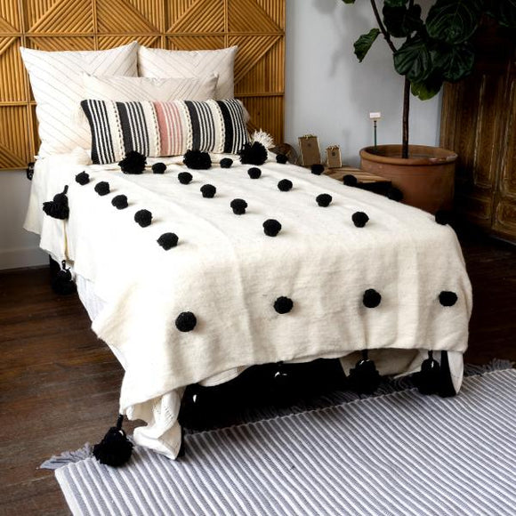 Wool Blanket with Poms, Full/Queen, Cream
