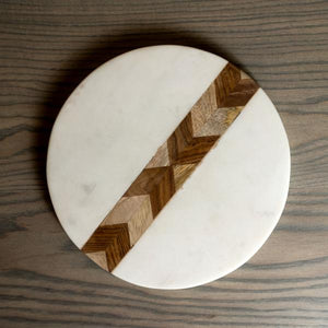 White Marble & Wood Mosaic Round Board, S