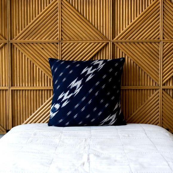 Diagonal Ikat Pillow, Indigo, 20