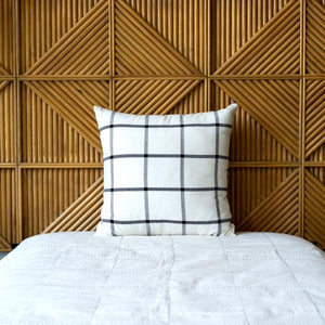 Large Grid Square Pillow, Cream