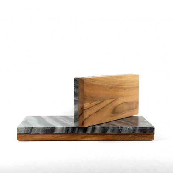 Grey Marble & Wood Reversible Board, L