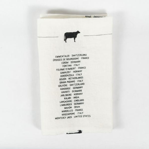 Cheese List Tea Towel, B/W