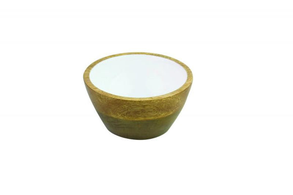 Mango Wood & White Enamel Bowl, S