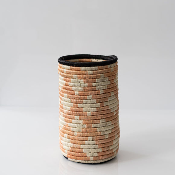 Woven Grass Utensil Holder / Vase, Black Border + Diamond