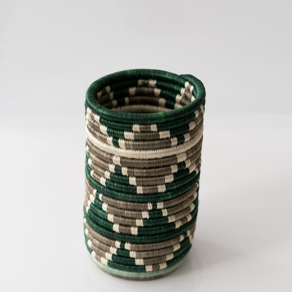 Woven Grass Utensil Holder / Vase, Green + Taupe Triangle