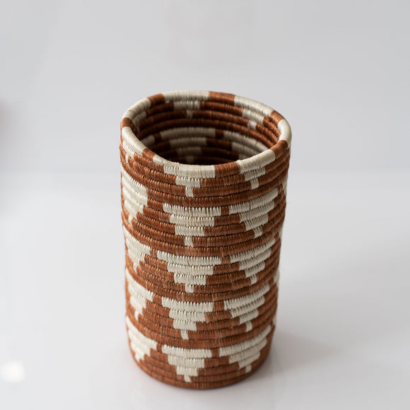 Woven Grass Utensil Holder / Vase, Terra Cotta Triangle
