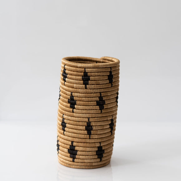 Woven Grass Utensil Holder / Vase, Small Black Diamond