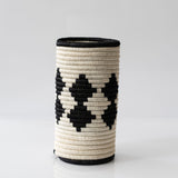 Woven Grass Utensil Holder / Vase, Black Diamond