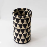 Woven Grass Utensil Holder / Vase, Midnight Blue + Cream Diamond