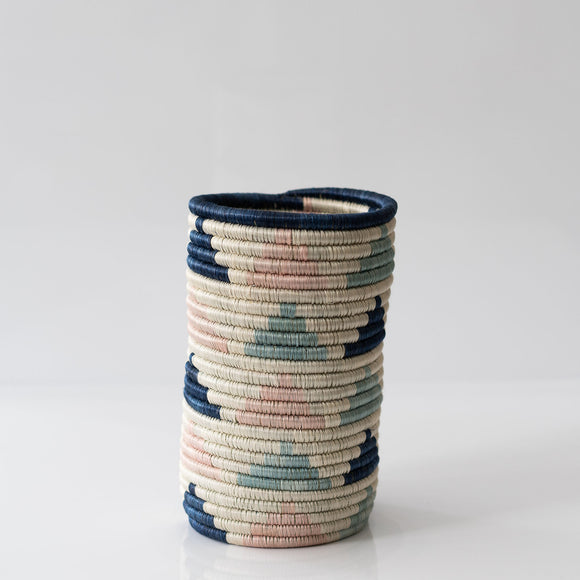 Woven Grass Utensil Holder / Vase, Pink + Blues Triangles