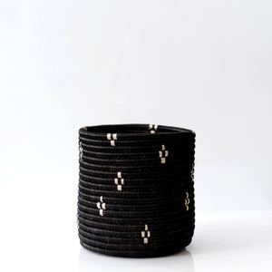 Woven Grass Planter, Black + Cream Diamonds, Choice of Size