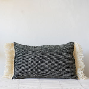 Fringed Wool Tweed Pillow, Choose Color