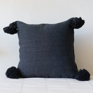 Navy Pillow w/ Poms