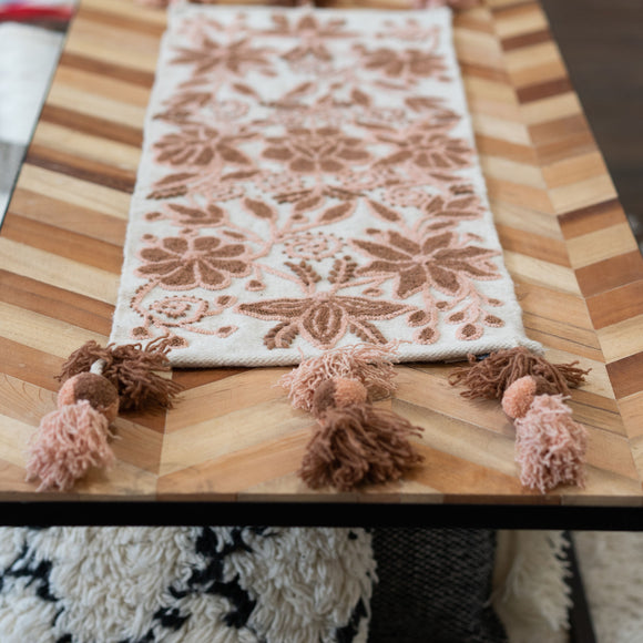 Peruvian Floral Rust Table Runner, Choose Size