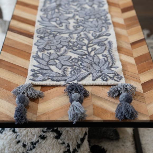 Peruvian Floral Cream + Grey Table Runner, Choose Size