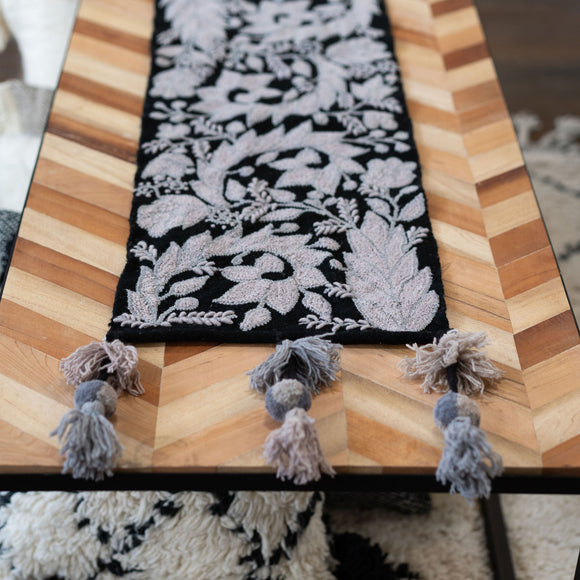 Peruvian Floral Black Table Runner, Choose Size