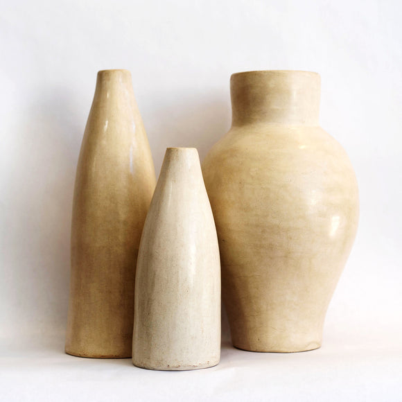 Tadelakt Vase, Cream, Choose Size