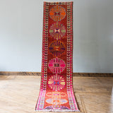 Vintage Kurdish Runner, Warm + Floral, 2.8' x 12.8'