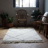 Moroccan Beni Ourain Rug, Cream + Black Dashed Edge, 3.5' x 5'