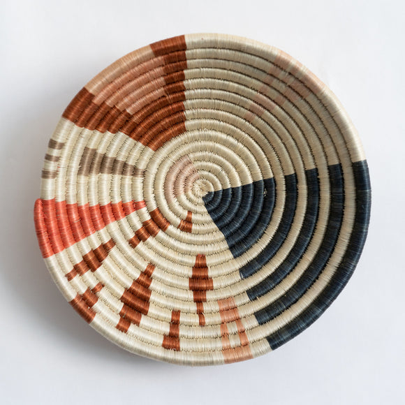 Woven Market Basket, M, Abstract Shapes, Wide Stripes