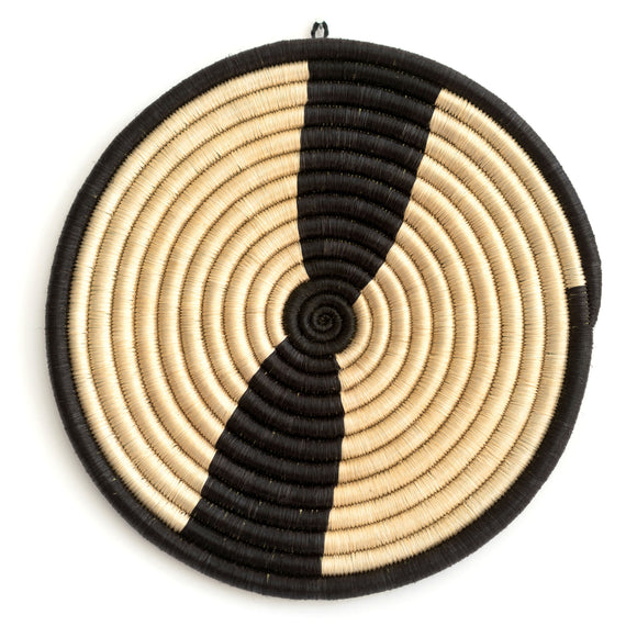 Woven Grass Trivet, Cream + Black Stripe