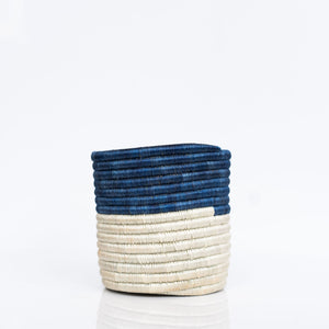 Woven Grass Planter, Blue + Cream, Choice of Size
